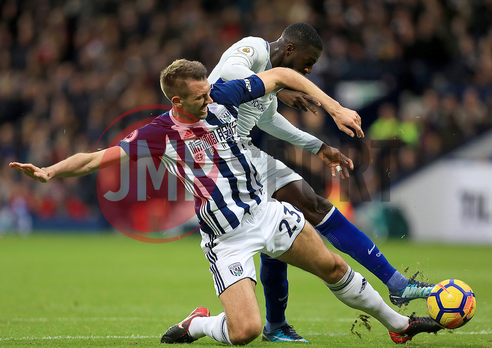 Gareth McAuley of West Bromwich Albion slides in on Tiemoue Bakayoko of Chelsea - Mandatory by-line: Paul Roberts/JMP - 18/11/2017 - FOOTBALL - The Hawthorns - West Bromwich, England - West Bromwich Albion v Chelsea - Premier League