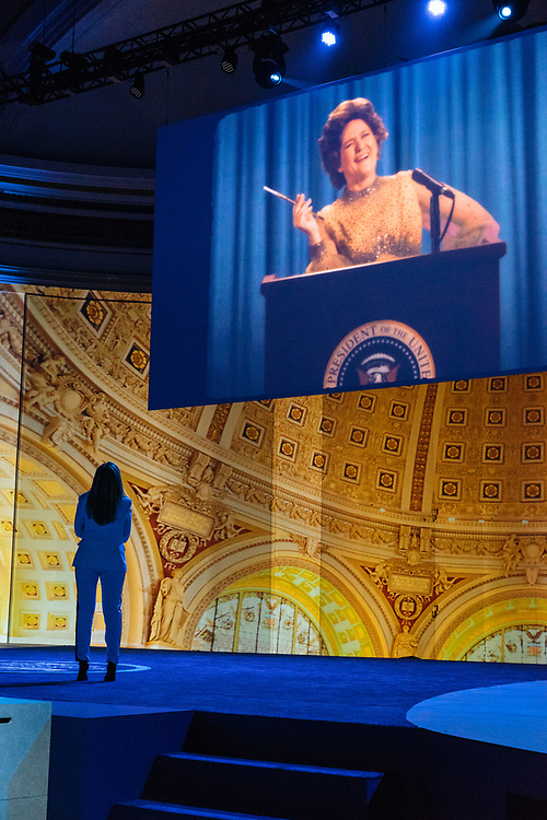 Samantha Bee watches a pre-taped clip of herself during rehearsals for Full Frontal with Samantha Bee's Not the White House Correspondents' Dinner at D.A.R. Constitution Hall in Washington D.C. on April 28, 2017.