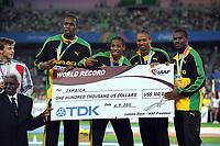 ATHLETICS - IAAF WORLD CHAMPIONSHIPS 2011 - DAEGU (KOR) - DAY 9 - 04/09/2011 - MEN 4X100M RELAY FINAL - TEAM JAMAICA / WINNER - PHOTO : FRANCK FAUGERE / KMSP / DPPI