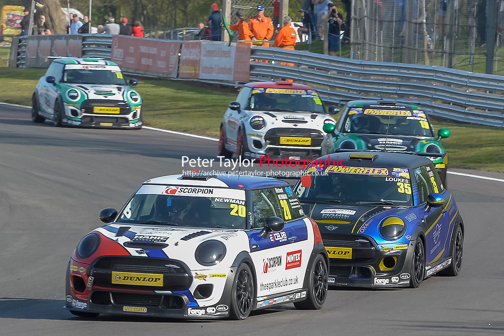 #20 Richard NEWMAN MINI JCW during Mini Challenge - JCW Class - Rounds 1 & 2  as part of the British F3 / GT Championship meeting at Oulton Park, Little Budworth, Cheshire, United Kingdom. April 22 2019. World Copyright Peter Taylor/PSP. Copy of publication required for printed pictures.