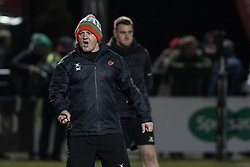 Dragons' Shaun Conner shout instructions during the pre match warm up.<br /> <br /> Photographer Simon Latham/Replay Images<br /> <br /> Guinness PRO14 - Dragons v Edinburgh - Friday 23rd February 2018 - Eugene Cross Park - Ebbw Vale<br /> <br /> World Copyright © Replay Images . All rights reserved. info@replayimages.co.uk - http://replayimages.co.uk