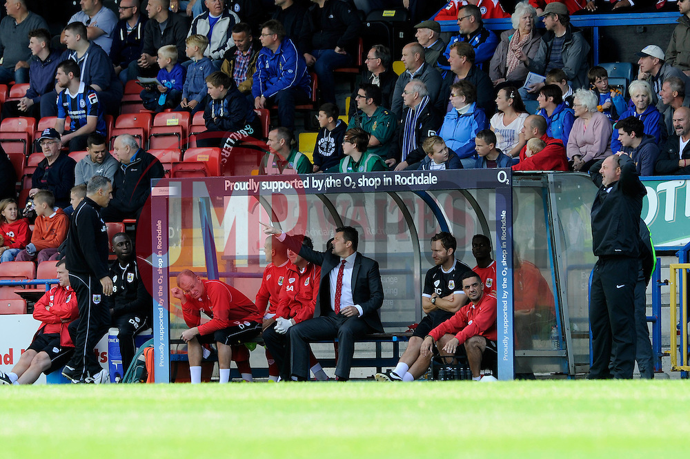 Bristol City manager, Steve Cotterill shouts instructions from the dug out - Photo mandatory by-line: Dougie Allward/JMP - Mobile: 07966 386802 23/08/2014 - SPORT - FOOTBALL - Manchester - Spotland Stadium - Rochdale AFC v Bristol City - Sky Bet League One