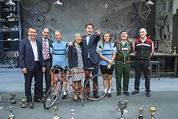 "© Licensed to London News Pictures . 03/07/2014 . Leeds , UK . The Deputy Prime Minister , NICK CLEGG MP , on the stage during a tour of the West Yorkshire Playhouse in Leeds today (Thursday 3rd July 2014) poses with the cast and crew of "" Beryl "" with , to his immediate left , Beryl Burton's daughter , Denise Burton  . The Liberal Democrat leader and MP for Sheffield Hallam meets cast and crew of production of Maxine Peake's "" Beryl "" based on the life of Beryl Burton , pioneering woman cyclist . Photo credit : Joel Goodman/LNP"