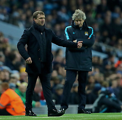MANCHESTER, ENGLAND - Tuesday, March 15, 2016: FC Dynamo Kyiv's head coach Serhiy Rebrov and Manchester City's manager Manuel Pellegrini during the UEFA Champions League Round of 16 2nd Leg match at the City of Manchester Stadium. (Pic by David Rawcliffe/Propaganda)