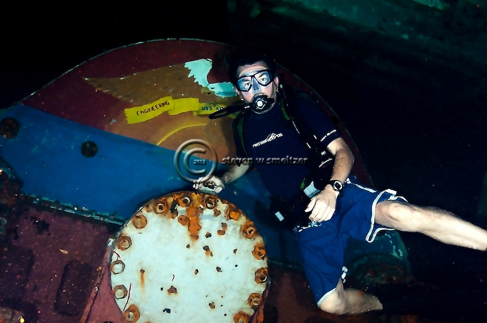 Steven Smeltzer in Engineering, USS Kittiwake, Grand Cayman