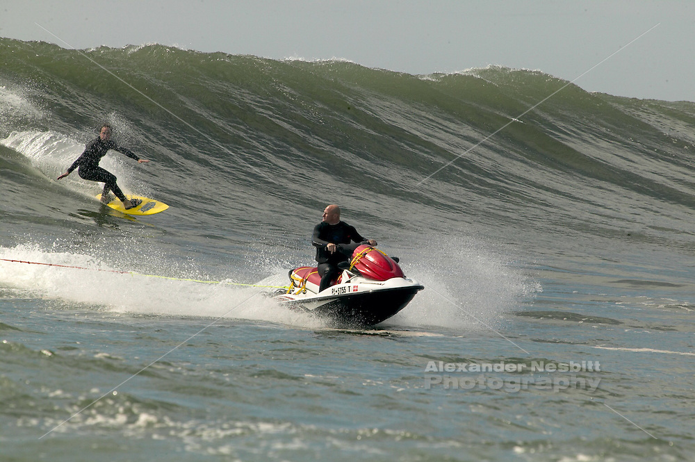 East coast tow-in surfing during tropical storm Ophelia of the Rhode Island Coast.