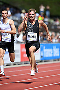 Kevin Mayer (FRA), right, and Zach Ziemek (USA) run in the 100m during the decathlon at the DecaStar meeting, Friday, June 22, 2019, in Talence, France. (Jiro Mochizuki/Image of Sport)