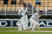 Yorkshire Andrew Gale  is out bowled by Warwickshire Keith Baker  during the Specsavers County Champ Div 1 match between Warwickshire County Cricket Club and Yorkshire County Cricket Club at Edgbaston, Birmingham, United Kingdom on 24 April 2016. Photo by Simon Davies.