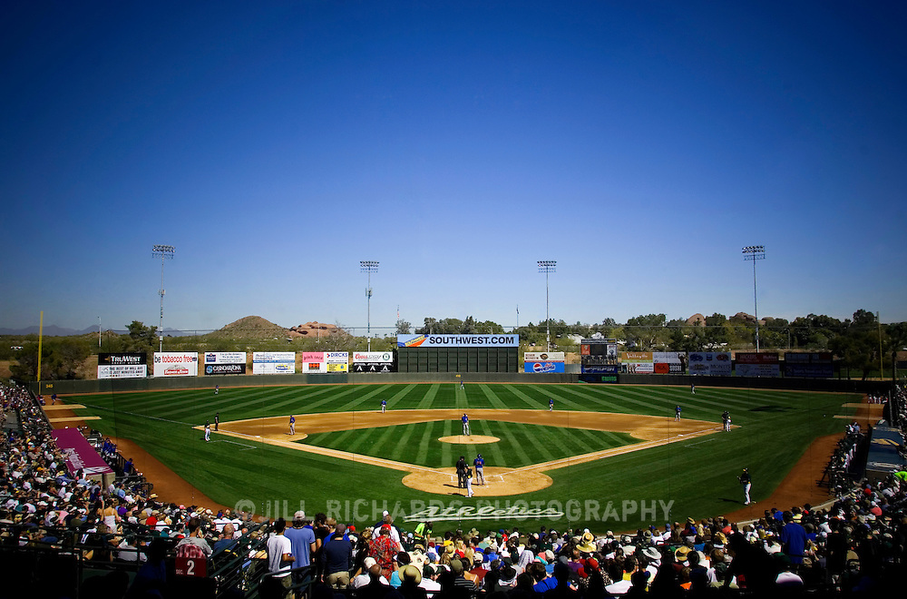 Spring training fans gather to Phoenix Municipal Stadium for am A's baseball game in March.