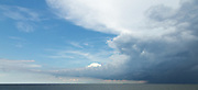 Thunderstorm over Lake Pontchartrain; heading south on the Lake Pontchartrain Causeway bridge