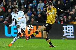 Tammy Abraham of Swansea City shoots at goal - Mandatory by-line: Nizaam Jones/JMP - 27/02/2018 - FOOTBALL - Liberty Stadium - Swansea, Wales-Swansea City v Sheffield Wednesday - Emirates FA Cup fifth round proper