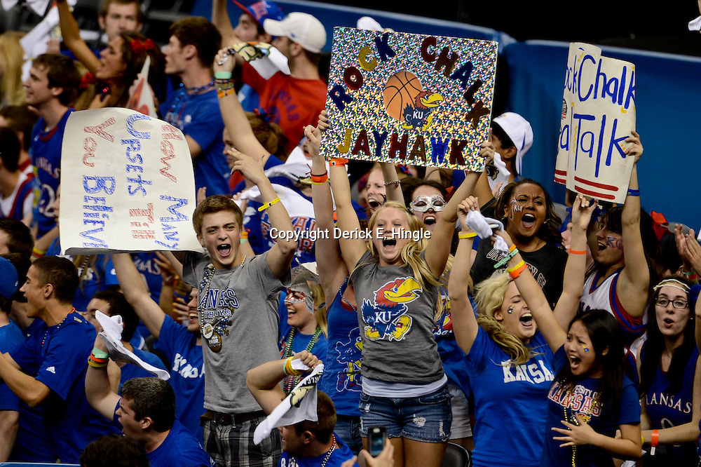 Apr 2, 2012; New Orleans, LA, USA; Kansas Jayhawks fans in the stands during the finals of the 2012 NCAA men's basketball Final Four against the Kentucky Wildcats at the Mercedes-Benz Superdome. Mandatory Credit: Derick E. Hingle-US PRESSWIRE