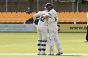 Neil Dexter & Hassan Azad during record breaking 2nd wkt partnership in the Specsavers County Champ Div 2 match between Leicestershire County Cricket Club and Gloucestershire County Cricket Club at the Fischer County Ground, Grace Road, Leicester, United Kingdom on 17 June 2019.