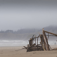 "On a very, very foggy day in Cannon Beach, some unknow persons have created a wonderful sculpture using driftwood as their medium. Into the mix a long figure appears through the opening of this ""magic doorway."""