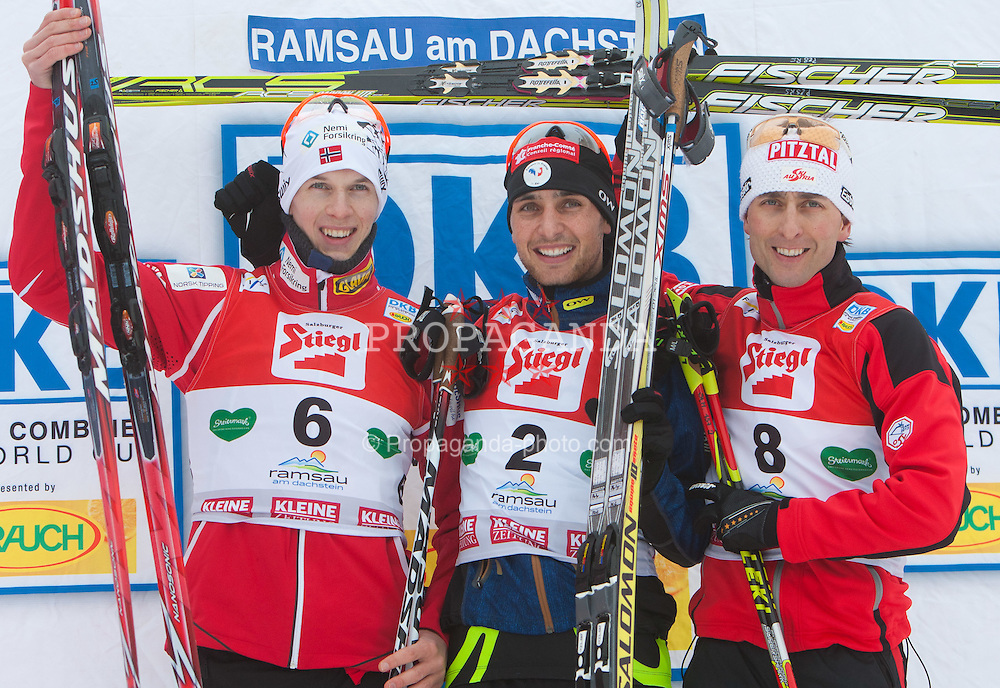 11.12.2011, Ramsau am Dachstein, AUT, FIS Nordische Kombination, Podium, im Bild v.l.n.r. Magnus Krog (NOR, 2. Rang), Jason Lamy Chappuis (FRA, 1. Rang) und Mario Stecher (AUT, 3. Rang) // f.l.t.r second place Magnus Krog of Norway, first place Jason Lamy Chappuis of France and dirt place Mario Stecher of Austria on Podium after 10km Cross Country at FIS Nordic Combined World Cup in Ramsau, Austria on 2011/12/11. EXPA Pictures © 2011, PhotoCredit: EXPA/ Johann Groder