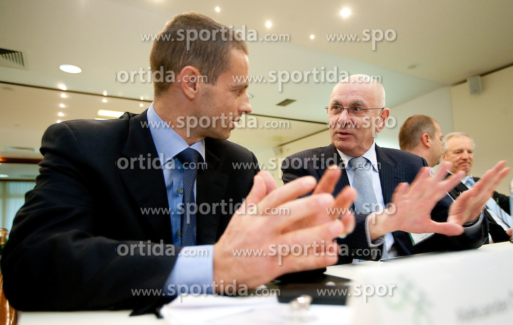 Aleksander Ceferin and Michael van Praag of UEFA during the General Assembly of NZS - Football Association of Slovenia, on February 17, 2011 in Hotel Kokra, Brdo pri Kranju, Slovenia. (Photo By Vid Ponikvar / Sportida.com)
