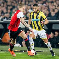 ROTTERDAM - Feyenoord - Vitesse , Voetbal , Eredivisie , Seizoen 2016/2017 , De Kuip , 16-12-2016 , Vitesse speler Adnane Tighadouini (r) in duel met Feyenoord speler Rick Karsdorp (l)