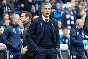 Brighton and Hove Albion manager Chris Hughton during the The FA Cup 5th round match between Brighton and Hove Albion and Derby County at the American Express Community Stadium, Brighton and Hove, England on 16 February 2019.