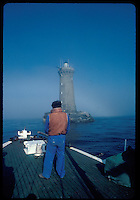 Regular delivery of goods and changing the lighthouse guard is made by a boat - the Velleda - out of Sein island in Western Brittany, France. Kodachrome