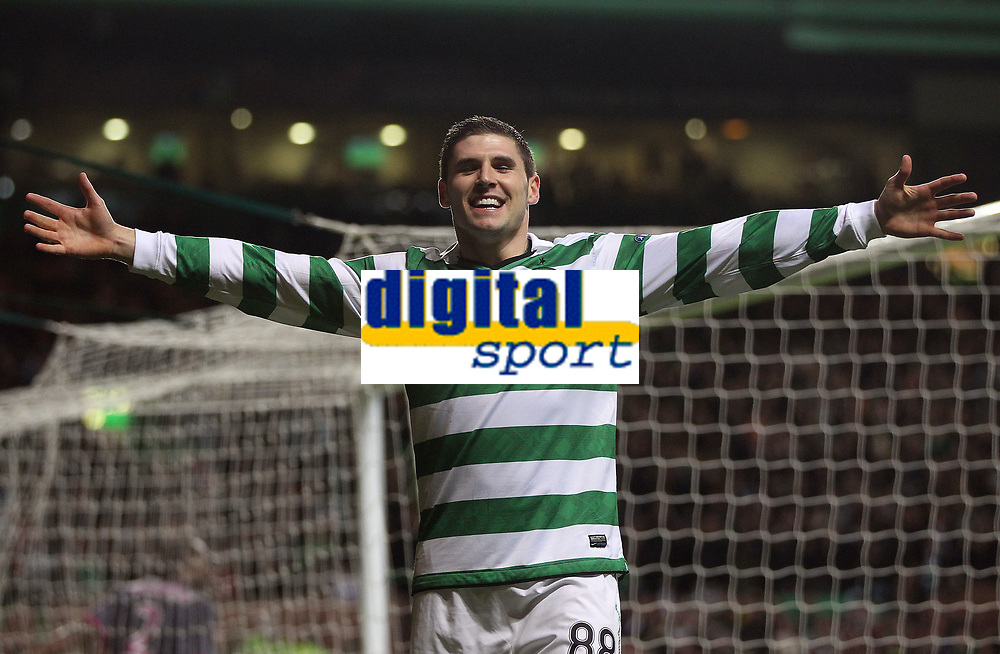 Football - Europa League - Celtic vs. Rennes<br /> <br /> Celtic's Gary Hooper celebrates his goal during the Celtic vs. Rennes Europa League group match at Celtic Park on November 3rd 2011.<br />  <br /> <br /> Ian MacNicol/Colorsport