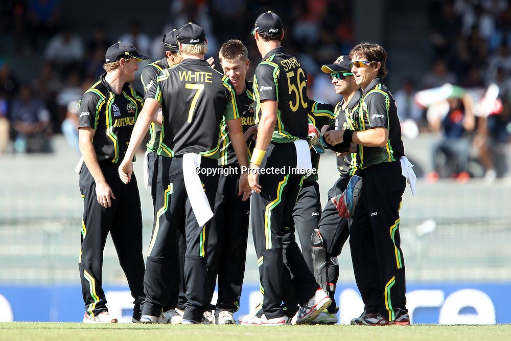Xavier Doherty celebrates the wicket of Richard Levi during the ICC World Twenty20 Super 8s match between Australia and South Africa held at the Premadasa Stadium in Colombo, Sri Lanka on the 30th September 2012<br /> <br /> Photo by Ron Gaunt/SPORTZPICS