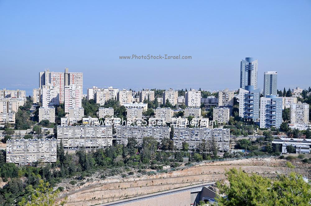 Israel, Haifa, Buildings on the Carmel mountain
