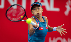October 12, 2018 - Shuai Zhang of China in action during her quarter-final match at the 2018 Prudential Hong Kong Tennis Open WTA International tennis tournament (Credit Image: © AFP7 via ZUMA Wire)