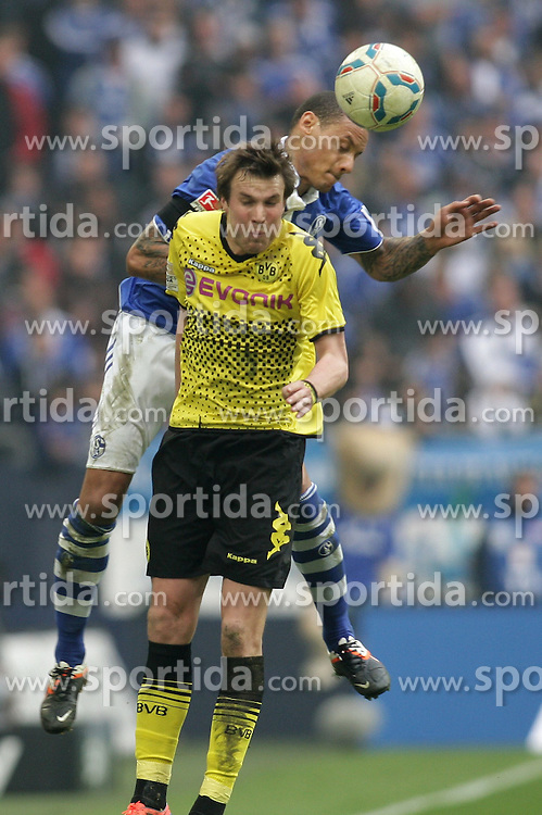 14.04.2012, Veltins Arena, Gelsenkirchen, GER, Schalke 04 vs Borussia Dortmund, 31. Spieltag, im Bild v.l. Kopfballduell zwischen Kevin Grosskreutz (Borussia Dortmund) und Jermaine Jones (FC Schalke 04), #a // during the German Bundesliga Match, 31th Round between Schalke 04 and Borussia Dortmund at the Veltins Arena, Gelsenkirchen, Germany on 2012/04/14. EXPA Pictures © 2012, PhotoCredit: EXPA/ Eibner/ Alexander Neis..***** ATTENTION - OUT OF GER *****