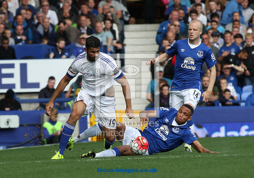 Brendan Galloway of Everton tackles Diego Costa of Chelsea during the Barclays Premier League match at Goodison Park, Liverpool.<br /> Picture by Michael Sedgwick/Focus Images Ltd +44 7900 363072<br /> 12/09/2015
