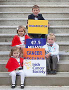 Repro Free: 17/09/2012.Oran O'Hagan (8), Sophie McElwain (4), Fionn O'Hagan (5) and Charlotte Stafford (2) are pictured as the Irish Cancer Society today announced that it has taken a major step forward to deliver its vision for cancer research in Ireland, by allocating ?7.5 million in funding to establish a Collaborative Cancer Research Centre in Ireland. This equates to ?1.5 million in funding being allocated per year, for up to five years. Pic Andres Poveda.