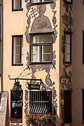 Traditional Tyrolean ornate architecture of Weinhaus in Innsbruck in the Tyrol, Austria