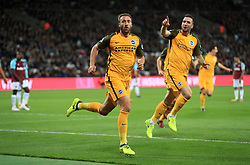 Brighton & Hove Albion's Glenn Murray celebrates scoring his side's first goal of the game during the Premier League match at the London Stadium.