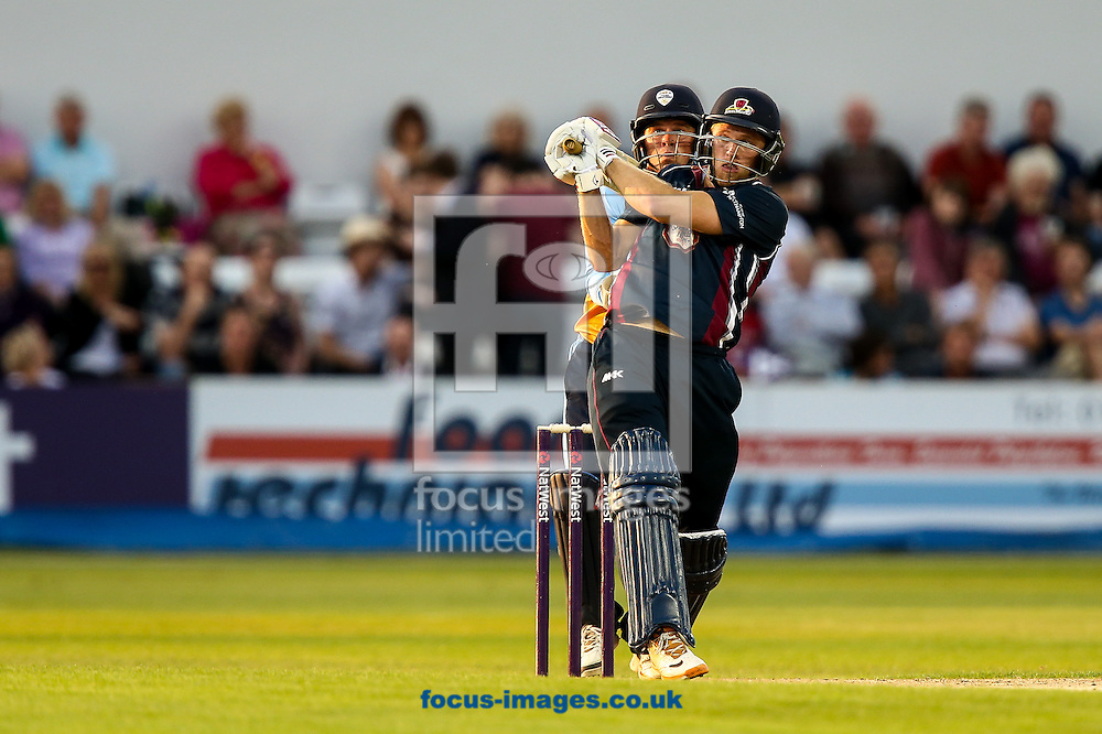 David Willey of Northants Steelbacks hits the ball to the boundary for four during the Natwest T20 Blast match at the County Ground, Northampton<br /> Picture by Andy Kearns/Focus Images Ltd 0781 864 4264<br /> 11/07/2014