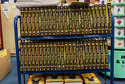 """© Licensed to London News Pictures. 31/07/2016. London, UK.  Stacks of books on display in Waterstones bookshop in Harrow on the day that """"Harry Potter and the Cursed Child"""", the script, in book form, of the play by JK Rowling goes on sale. Photo credit : Stephen Chung/LNP"""