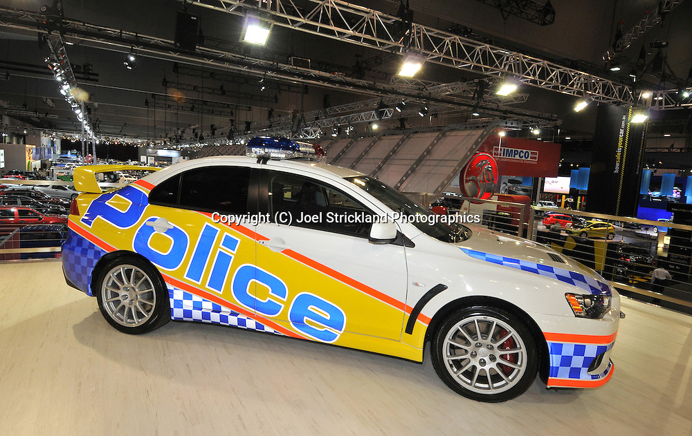 Mitsubishi Evo X Police Car .Media Preview .Melbourne International Motorshow.Melbourne Exhibition Centre.Clarendon St, Southbank, Melbourne .Friday 27th of February 2009.(C) Joel Strickland Photographics.