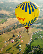 """A """"Cheers"""" balloon rises over Rancho San Rafael Regional Park just north of downtown Reno, Nevada, during the Great Reno Balloon Race Preview Day on Thursday, September 7, 2017. The Great Reno Balloon Race is the largest free hot-air ballooning event in the world. An average of 120,000 spectators attend the event each year. The event officially kicks off tomorrow morning in Rancho San Rafael Regional Park with a Super Glow Show at 5:15 a.m."""