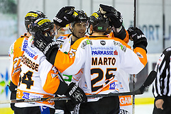 12.02.2015, Hala Tivoli, Ljubljana, SLO, EBEL, HDD Telemach Olimpija Ljubljana vs Moser Medical Graz, 2. Qualification Round, in picture Players of Moser Medical Graz 99ers celebrate during the Erste Bank Icehockey League 2. Qualification Round between HDD Telemach Olimpija Ljubljana and Moser Medical Graz 99ers at the Hala Tivoli, Ljubljana, Slovenia on 2015/02/12. Photo by Morgan Kristan / Sportida