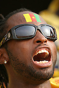A man with the flag of Cameroon painted on his forehead cheers prior to a football game between Ghana and Cameroon during the Africa Cup of Nations in Accra, Ghana on February 7, 2008.
