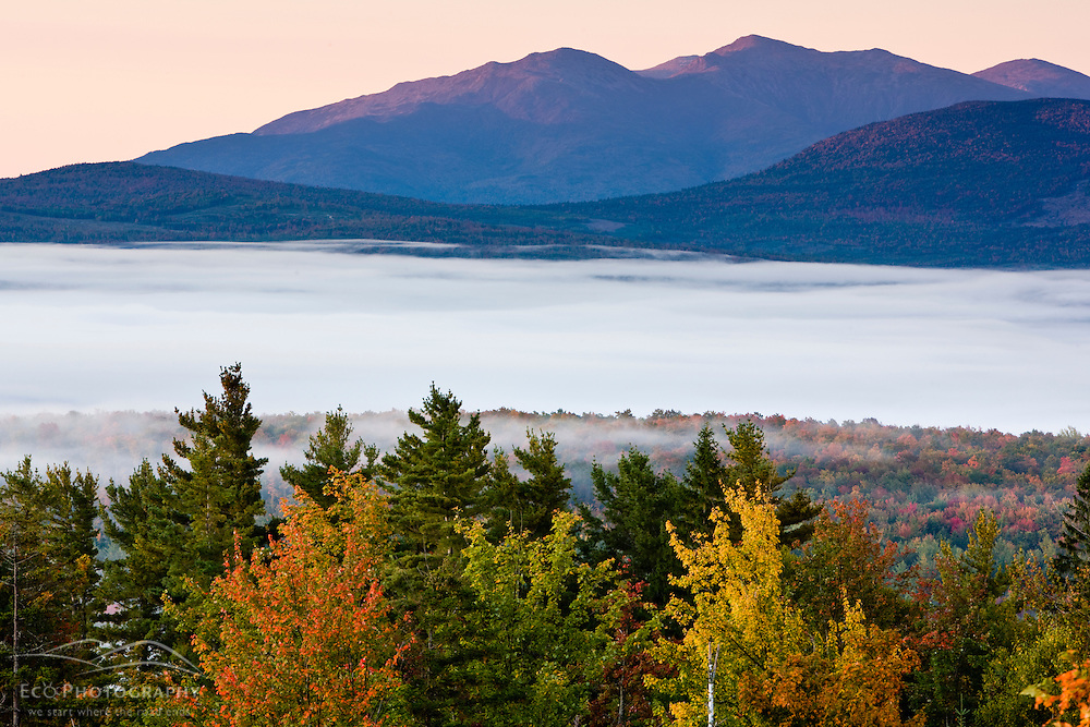 Dawn light hits the Presidential Range in New Hampshire's White Mountains.