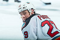 KELOWNA, BC - FEBRUARY 17:  Team Captain Nolan Foote #29 of the Kelowna Rockets stretches on the ice during warm up against the Calgary Hitmen at Prospera Place on February 17, 2020 in Kelowna, Canada. (Photo by Marissa Baecker/Shoot the Breeze)