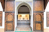 Traditional carved doors at the museum Dar Si Said in Marrakech.