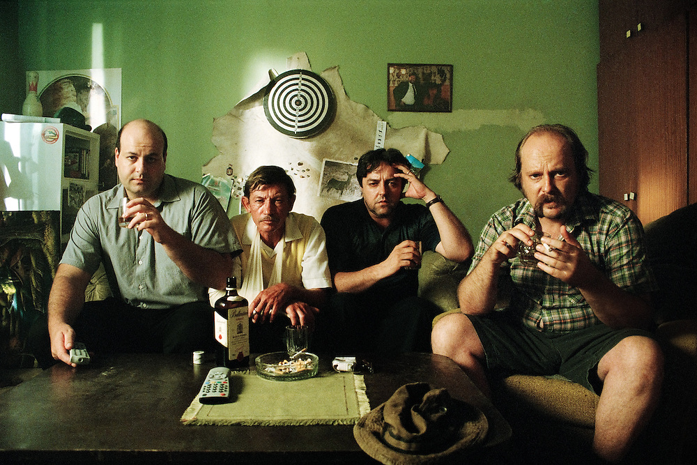 Scene from featured film Suburbs - Predmestje, from left to right: Jernej Šugman, Silvo Božič, Renato Jenček and Peter Musevski