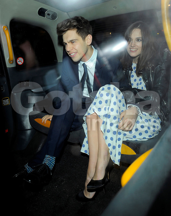 Keira Knightley and husband James Righton attend Harvey Weinstein's pre-BAFTA dinner at Little House restaurant in London, UK. 14/02/2014<br />