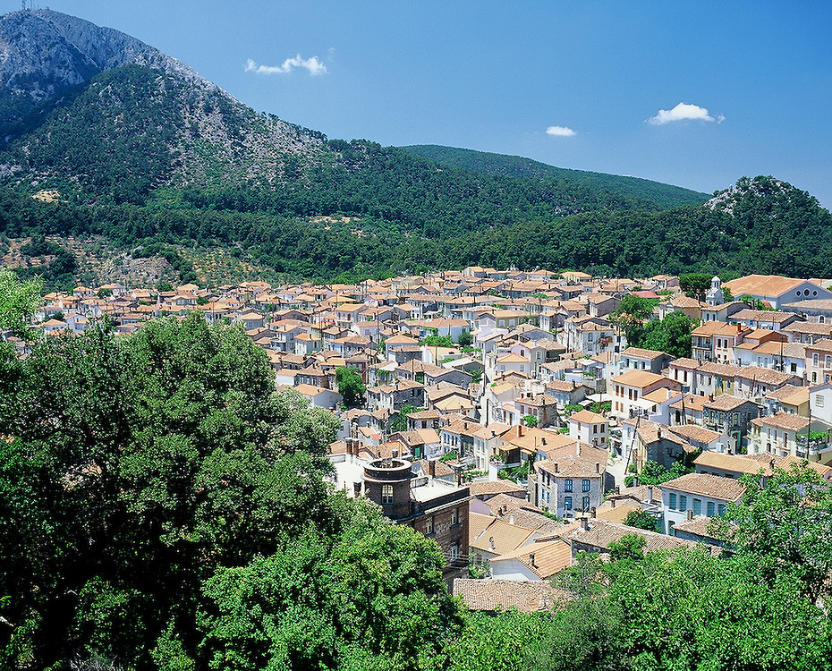 City of Agiassos on the island of Lesvos in Greece