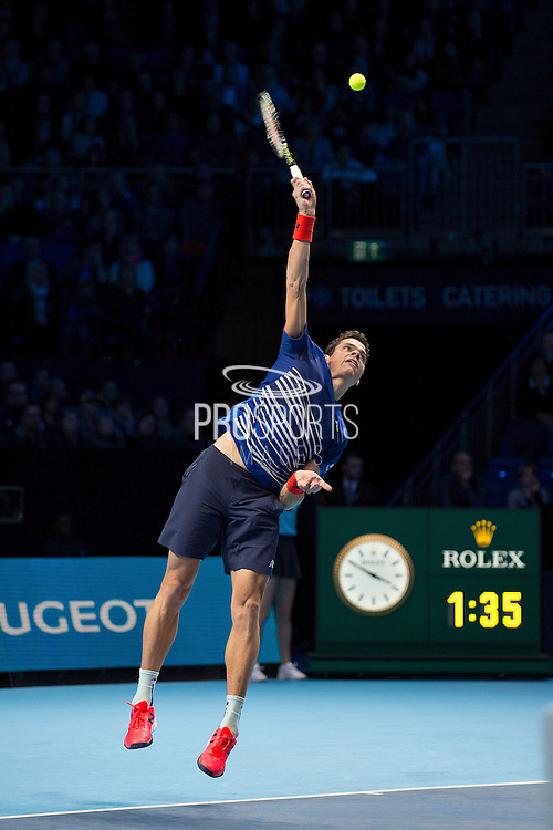 Milos Raonic  of Canada serves during the semi-final and day seven of the Barclays ATP World Tour Finals at the O2 Arena, London, United Kingdom on 19 November 2016. Photo by Martin Cole.
