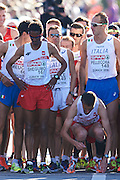 (L) Yared Shegumo and (R) Henryk Szost both from Poland prepares to the men's marathon during the Sixth Day of the European Athletics Championships Zurich 2014 at Letzigrund Stadium in Zurich, Switzerland.<br /> <br /> Switzerland, Zurich, August 17, 2014<br /> <br /> Picture also available in RAW (NEF) or TIFF format on special request.<br /> <br /> For editorial use only. Any commercial or promotional use requires permission.<br /> <br /> Photo by &copy; Adam Nurkiewicz / Mediasport