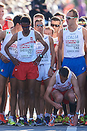 (L) Yared Shegumo and (R) Henryk Szost both from Poland prepares to the men's marathon during the Sixth Day of the European Athletics Championships Zurich 2014 at Letzigrund Stadium in Zurich, Switzerland.<br /> <br /> Switzerland, Zurich, August 17, 2014<br /> <br /> Picture also available in RAW (NEF) or TIFF format on special request.<br /> <br /> For editorial use only. Any commercial or promotional use requires permission.<br /> <br /> Photo by © Adam Nurkiewicz / Mediasport