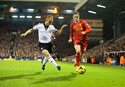 LONDON, ENGLAND - Wednesday, February 12, 2014: Liverpool's Jordan Henderson in action against Fulham during the Premiership match at Craven Cottage. (Pic by David Rawcliffe/Propaganda)