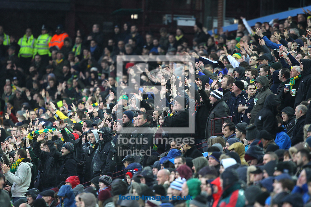 The traveling Norwich fans during the Barclays Premier League match at Villa Park, Birmingham<br /> Picture by Paul Chesterton/Focus Images Ltd +44 7904 640267<br /> 06/02/2016