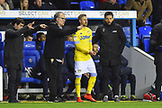 Leeds United Manager Marcelo Bielsa gives instructions to Barry Douglas (3) of Leeds United as he is about to come on during the EFL Sky Bet Championship match between Reading and Leeds United at the Madejski Stadium, Reading, England on 12 March 2019.
